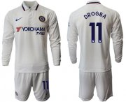 Wholesale Cheap Chelsea #11 Drogba Away Long Sleeves Soccer Club Jersey