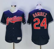 Wholesale Cheap Indians #24 Manny Ramirez Navy Blue Flexbase Authentic Collection Stitched MLB Jersey