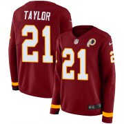Wholesale Cheap Nike Redskins #21 Sean Taylor Burgundy Red Team Color Women's Stitched NFL Limited Therma Long Sleeve Jersey
