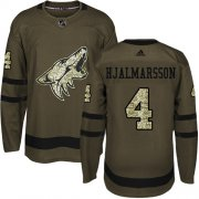 Wholesale Cheap Adidas Coyotes #4 Niklas Hjalmarsson Green Salute to Service Stitched Youth NHL Jersey