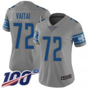 Wholesale Cheap Nike Lions #72 Halapoulivaati Vaitai Gray Women's Stitched NFL Limited Inverted Legend 100th Season Jersey
