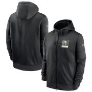 Wholesale Cheap New Orleans Saints Nike Sideline Impact Lockup Performance Full-Zip Hoodie Black