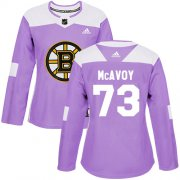 Wholesale Cheap Adidas Bruins #73 Charlie McAvoy Purple Authentic Fights Cancer Women's Stitched NHL Jersey