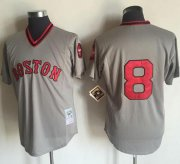 Wholesale Cheap Mitchell and Ness 1975 Red Sox #8 Carl Yastrzemski Grey Stitched Throwback MLB Jersey