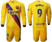Wholesale Cheap Barcelona #9 Suarez Away Long Sleeves Soccer Club Jersey