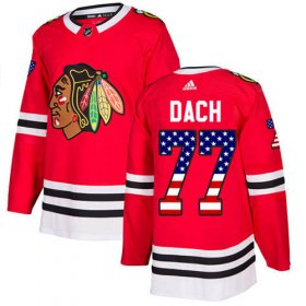 Wholesale Cheap Adidas Blackhawks #77 Kirby Dach Red Home Authentic USA Flag Stitched NHL Jersey