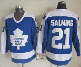 Wholesale Cheap Maple Leafs #21 Borje Salming Blue/White CCM Throwback Stitched NHL Jersey
