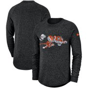 Wholesale Cheap Cincinnati Bengals Nike Fan Gear Marled Historic Raglan Long Sleeve T-Shirt Black