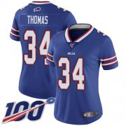 Wholesale Cheap Nike Bills #34 Thurman Thomas Royal Blue Team Color Women's Stitched NFL 100th Season Vapor Limited Jersey