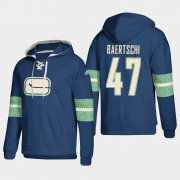 Wholesale Cheap Vancouver Canucks #47 Sven Baertschi Blue adidas Lace-Up Pullover Hoodie