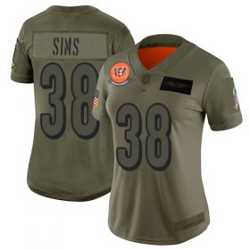 Wholesale Cheap Nike Bengals #38 LeShaun Sims Camo Women\'s Stitched NFL Limited 2019 Salute To Service Jersey
