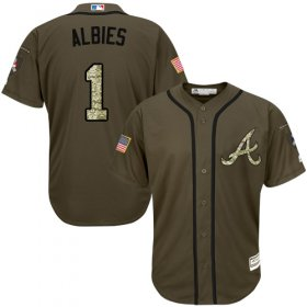 Wholesale Cheap Braves #1 Ozzie Albies Green Salute to Service Stitched Youth MLB Jersey