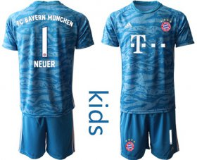 Wholesale Cheap Bayern Munchen #1 Neuer Light Blue Goalkeeper Kid Soccer Club Jersey