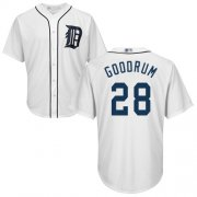 Wholesale Cheap Tigers #28 Niko Goodrum White New Cool Base Stitched MLB Jersey