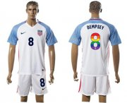 Wholesale Cheap USA #8 Dempsey White Rainbow Soccer Country Jersey
