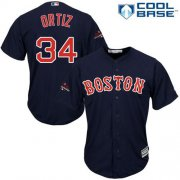 Wholesale Cheap Red Sox #34 David Ortiz Navy Blue New Cool Base 2018 World Series Champions Stitched MLB Jersey