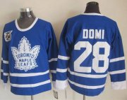 Wholesale Cheap Maple Leafs #28 Tie Domi Blue 75th CCM Throwback Stitched NHL Jersey