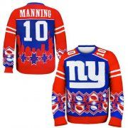 Wholesale Cheap Nike Giants #10 Eli Manning Royal Blue/Red Men's Ugly Sweater