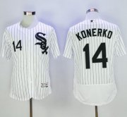 Wholesale Cheap White Sox #14 Paul Konerko White(Black Strip) Flexbase Authentic Collection Stitched MLB Jersey
