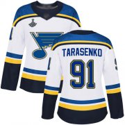 Wholesale Cheap Adidas Blues #91 Vladimir Tarasenko White Road Authentic Stanley Cup Champions Women's Stitched NHL Jersey