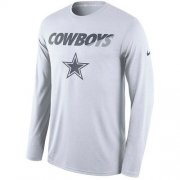 Wholesale Cheap Men's Dallas Cowboys Nike White Legend Staff Practice Long Sleeves Performance T-Shirt