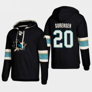 Wholesale Cheap San Jose Sharks #20 Marcus Sorensen Black adidas Lace-Up Pullover Hoodie