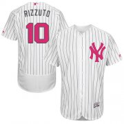 Wholesale Cheap Yankees #10 Phil Rizzuto White Strip Flexbase Authentic Collection Mother's Day Stitched MLB Jersey