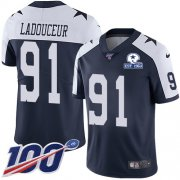 Wholesale Cheap Nike Cowboys #91 L.P. Ladouceur Navy Blue Thanksgiving Men's Stitched With Established In 1960 Patch NFL 100th Season Vapor Untouchable Limited Throwback Jersey