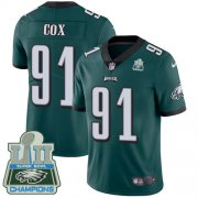 Wholesale Cheap Nike Eagles #91 Fletcher Cox Midnight Green Team Color Super Bowl LII Champions Men's Stitched NFL Vapor Untouchable Limited Jersey