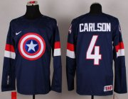 Wholesale Cheap Olympic Team USA #4 John Carlson Navy Blue Captain America Fashion Stitched NHL Jersey
