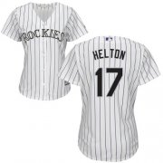 Wholesale Cheap Rockies #17 Todd Helton White Strip Home Women's Stitched MLB Jersey