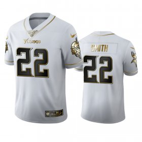 Wholesale Cheap Minnesota Vikings #22 Harrison Smith Men\'s Nike White Golden Edition Vapor Limited NFL 100 Jersey