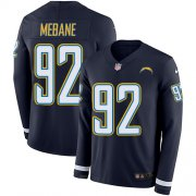 Wholesale Cheap Nike Chargers #92 Brandon Mebane Navy Blue Team Color Men's Stitched NFL Limited Therma Long Sleeve Jersey