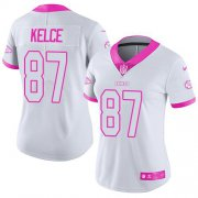 Wholesale Cheap Nike Chiefs #87 Travis Kelce White/Pink Women's Stitched NFL Limited Rush Fashion Jersey