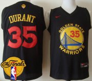 Wholesale Cheap Men's Warriors #35 Kevin Durant Black New Fashion 2017 The Finals Patch Stitched NBA Jersey