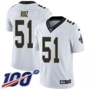 Wholesale Cheap Nike Saints #51 Cesar Ruiz White Youth Stitched NFL 100th Season Vapor Untouchable Limited Jersey