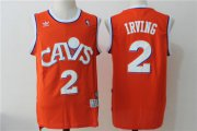 Wholesale Cheap Men's Cleveland Cavaliers #2 Kyrie Irving Orange Hardwood Classics Soul Swingman Throwback Jersey