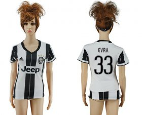 Wholesale Cheap Women\'s Juventus #33 Evra Home Soccer Club Jersey