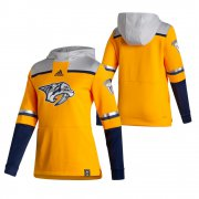 Wholesale Cheap Nashville Predators Blank Adidas Reverse Retro Pullover Hoodie Gold