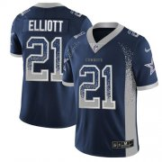 Wholesale Cheap Nike Cowboys #21 Ezekiel Elliott Navy Blue Team Color Men's Stitched NFL Limited Rush Drift Fashion Jersey