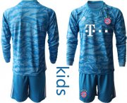 Wholesale Cheap Bayern Munchen Blank Light Blue Goalkeeper Long Sleeves Kid Soccer Club Jersey