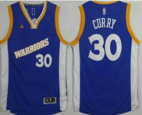 Wholesale Cheap Men\'s Golden State Warriors #30 Stephen Curry Blue Retro Stitched 2016 NBA Revolution 30 Swingman Jersey