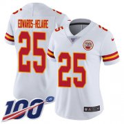 Wholesale Cheap Nike Chiefs #25 Clyde Edwards-Helaire White Women's Stitched NFL 100th Season Vapor Untouchable Limited Jersey