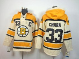 Wholesale Cheap Bruins #33 Zdeno Chara Cream Sawyer Hooded Sweatshirt Stitched NHL Jersey