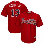 Wholesale Cheap Braves #13 Ronald Acuna Jr. Red Cool Base Stitched Youth MLB Jersey