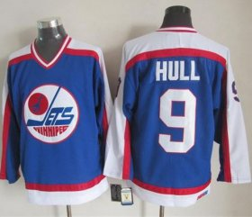 Wholesale Cheap Jets #9 Bobby Hull Blue/White CCM Throwback Stitched NHL Jersey