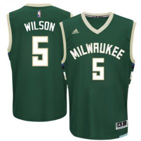 Wholesale Cheap Men\'s Milwaukee Bucks #5 D.J. Wilson adidas Green 2017 NBA Draft Pick Replica Jersey