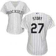 Wholesale Cheap Rockies #27 Trevor Story White Strip Home Women's Stitched MLB Jersey