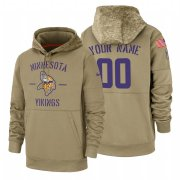 Wholesale Cheap Minnesota Vikings Custom Nike Tan 2019 Salute To Service Name & Number Sideline Therma Pullover Hoodie