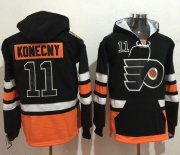 Wholesale Cheap Flyers #11 Travis Konecny Black Name & Number Pullover NHL Hoodie